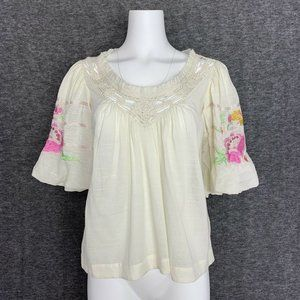 Free People Bohemia Blouse Ivory Combo Embroidered